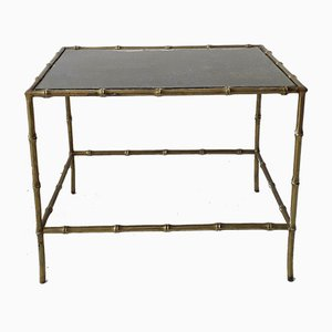 Faux Bamboo Brass & Eglomised Glass Side Table, 1950s