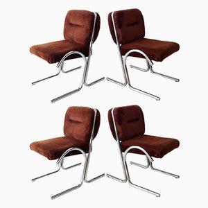 Esszimmerstühle aus Chrom, 1970er, 4er Set