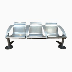 Industrial French Metal 3-Seater Bench, 1960s