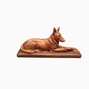 Art Deco Skulptur eines Hundes aus Terrakotta von Ugo Cipriani für Terre Cuite d'Art, 1930er