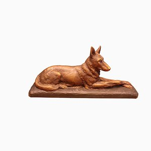 Art Deco Terracotta Dog Sculpture by Ugo Cipriani for Terre Cuite d'Art, 1930s