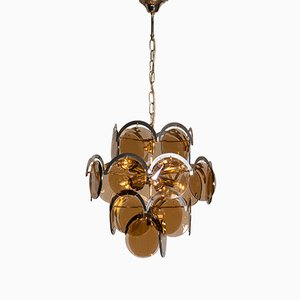 Italian Gold Smoked Glass Chandelier from Vistosi, 1970s