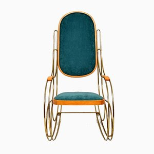 Vintage Italian Brass Rocking Chair, 1970s