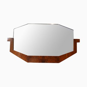 Art Deco French Walnut Veneer Mirror, 1930s