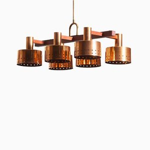 Red Copper and Teak Chandelier by Tapio Wirkkala for Idman, 1960s