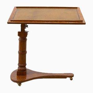 Tavolo da lettura antico pieghevole e regolabile vittoriano su ruote