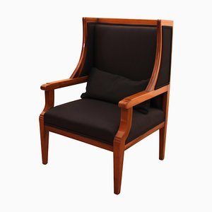 Biedermeier German Cherry Wingback Chair, 1830s