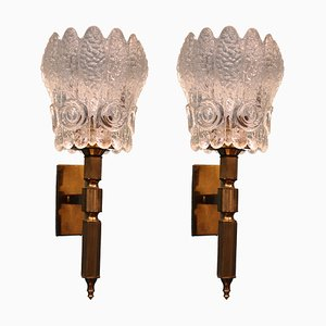 Art Deco Crystal and Brass Appliques, 1930s, Set of 2