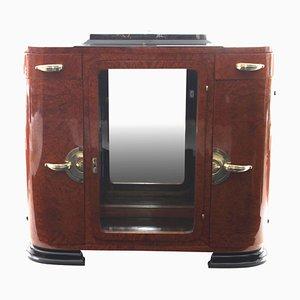 Mobiletto Art Déco con specchio, amboyna e bronzo, Francia