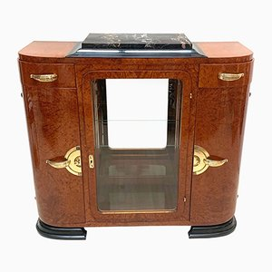 French Art Deco Amboyna Cabinet with Mirror