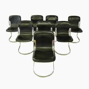 Leather Dining Chairs by Willy Rizzo for Cidue, 1970s, Set of 8