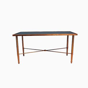 Brass and Black Mirrored Glass Coffee Table, 1950s