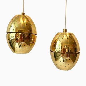 Lámparas colgantes de latón de Hans-Agne Jakobsson, años 60. Juego de 2
