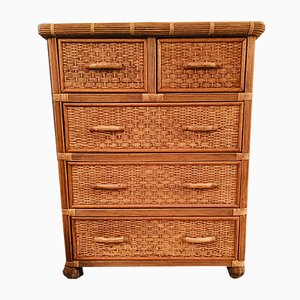 Rattan and Bamboo Chest of Drawers, 1970s