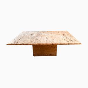 Square Travertine Coffee Table, 1970s