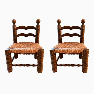 Turned Wood Chairs, 1950s, Set of 2