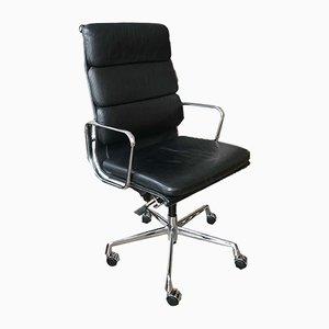 EA 219 Armlehnstuhl aus schwarzem Leder & Chrom von Charles & Ray Eames für Vitra, 1980er