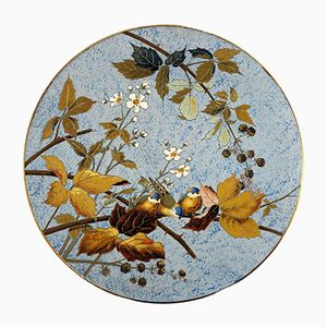 Large Antique Decorative Wall Plate from Mettlach, 1890