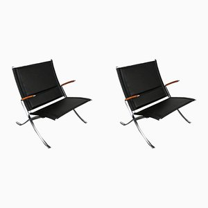 Vintage Black Leather and Steel FK82 Lounge Chairs by Fabricius & Kastholm, Set of 2
