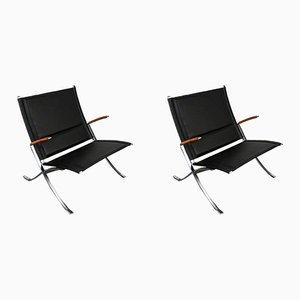 Vintage FK82 Sessel aus schwarzem Leder und Stahl von Fabricius und Kastholm, 2er Set