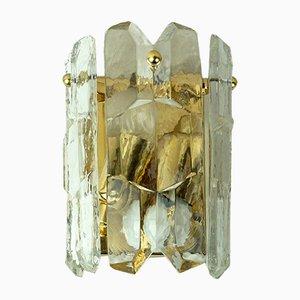 Vintage Wandlampe aus vergoldetem Messing & Kristallglas von J.T. Kalmar