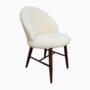 Kleiner dänischer Stuhl mit Wollbezug, 1960er