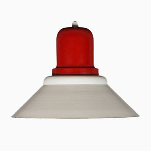 Red Metal Ceiling Light, 1950s