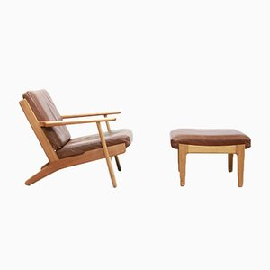 Model GE290 Leather Armchair & Ottoman by Hans J. Wegner for Getama, 1960s