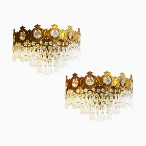 Vintage Cut Crystal Half Crown Wall Lights, Set of 2