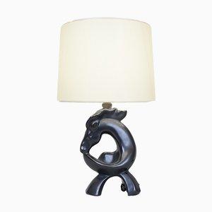 Vintage Black Ceramic Lamp, 1960s
