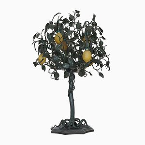 Vintage Wrought Iron Lemon Tree Lamp with 6 Lights