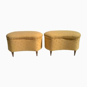 Large Italian Poufs, 1940s, Set of 2