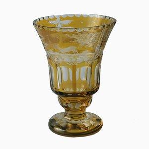 Bernsteinfarbene böhmische Glasvase, 1860er