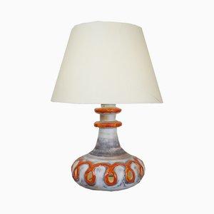 Orange & White Ceramic Lamp, 1960s