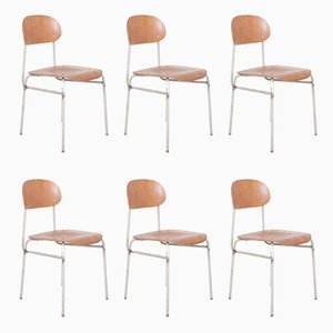 Vintage Industrial School Chairs, 1970s, Set of 6