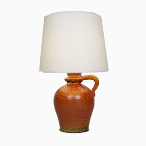 Orange Ceramic Lamp, 1950s