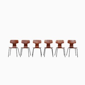 Hammer Teak Chairs by Arne Jacobsen for Fritz Hansen, 1960s, Set of 6