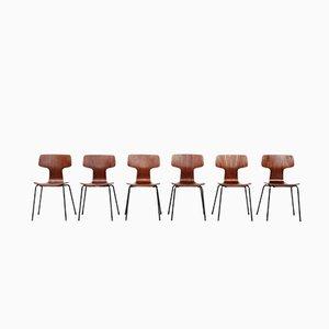 Sillas Hammer de teca de Arne Jacobsen para Fritz Hansen, años 60. Juego de 6