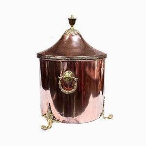 Antique Edwardian Copper Coal Scuttle