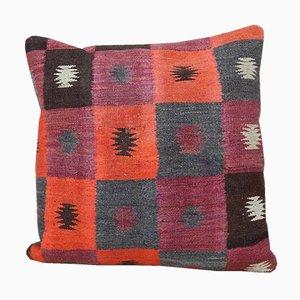 Federa Kilim fatta a mano arancione di Vintage Pillow Store Contemporary