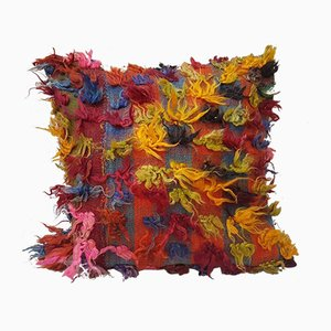 Federa Shaggy multicolore fatta a mano di Vintage Pillow Store Contemporary