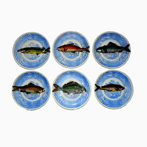 Vintage Trompe L'oeil Piscibus Plates by Piero Fornasetti, 1950s, Set of 6