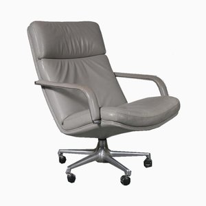Grey Leather Lounge Chair by Geoffrey Harcourt, 1970s