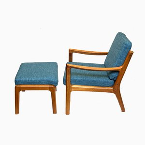 Senator Lounge Teak Armchair with Ottoman by Ole Wanscher for Cado, 1960s