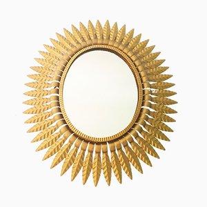 Vintage Spiegel mit goldenem Rahmen in Sonnen-Optik
