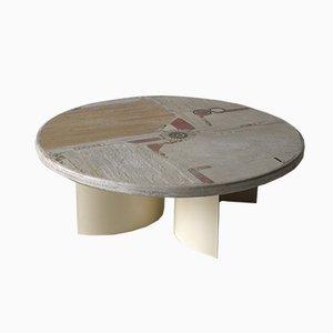 Tavolo vintage in pietra bianca di Paul Kingma, 1984