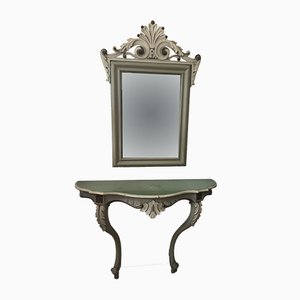 Neoclassical Style Console Table with Mirror, 1940s