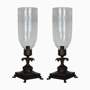Lampade da tavolo in stile Regency con paralumi Storm, anni '30, set di 2