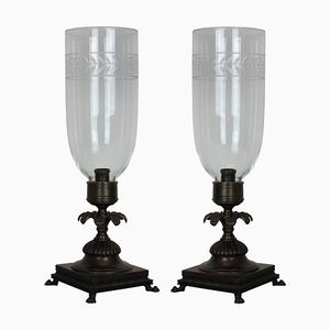 Regency Style Table Lamps with Storm Shades, 1930s, Set of 2