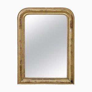 Espejo de pared antiguo de madera dorada, década de 1850